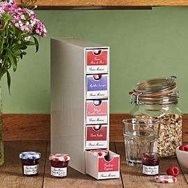 Sammlerkästchen – befüllt mit roten Frucht-Konfitüren