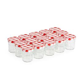 Packung mit 15 kleinen Konfitüren-Gläschen  – rot